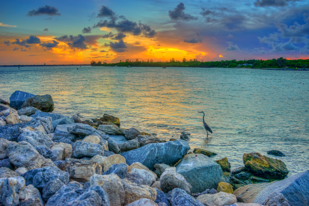 Sebastian Inlet State Park during sunset over Melbourne Beach Florida. HDR image tone mapped in Photomatix Pro HDR software.