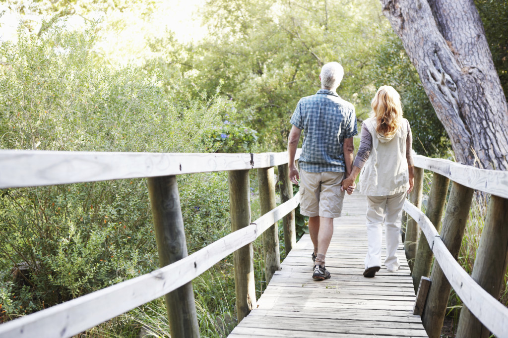 Rearview of a senior couple walking across a bridge in the wilderness